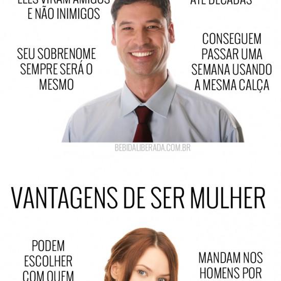 As vantagens de ser homem x As vantagens de ser mulher
