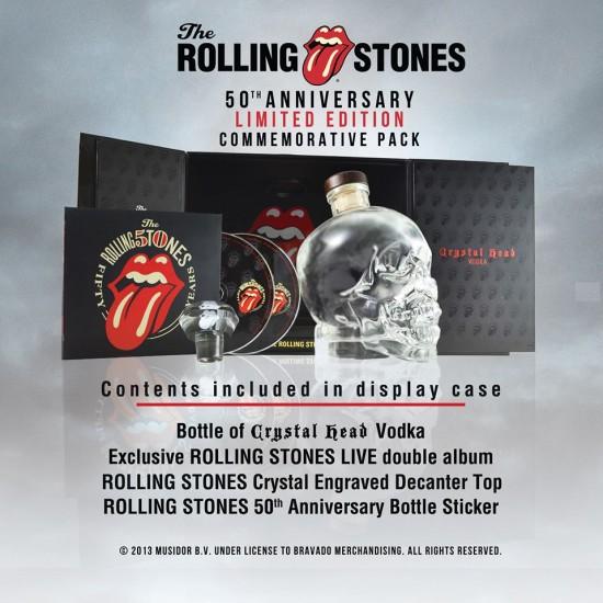 Por 90 dólares você pode comprar um kit de comemoração de 50 anos do Rolling Stones que contém entre outras coisas, uma garrafa de cristal em formato de caveira cheia de vodka!